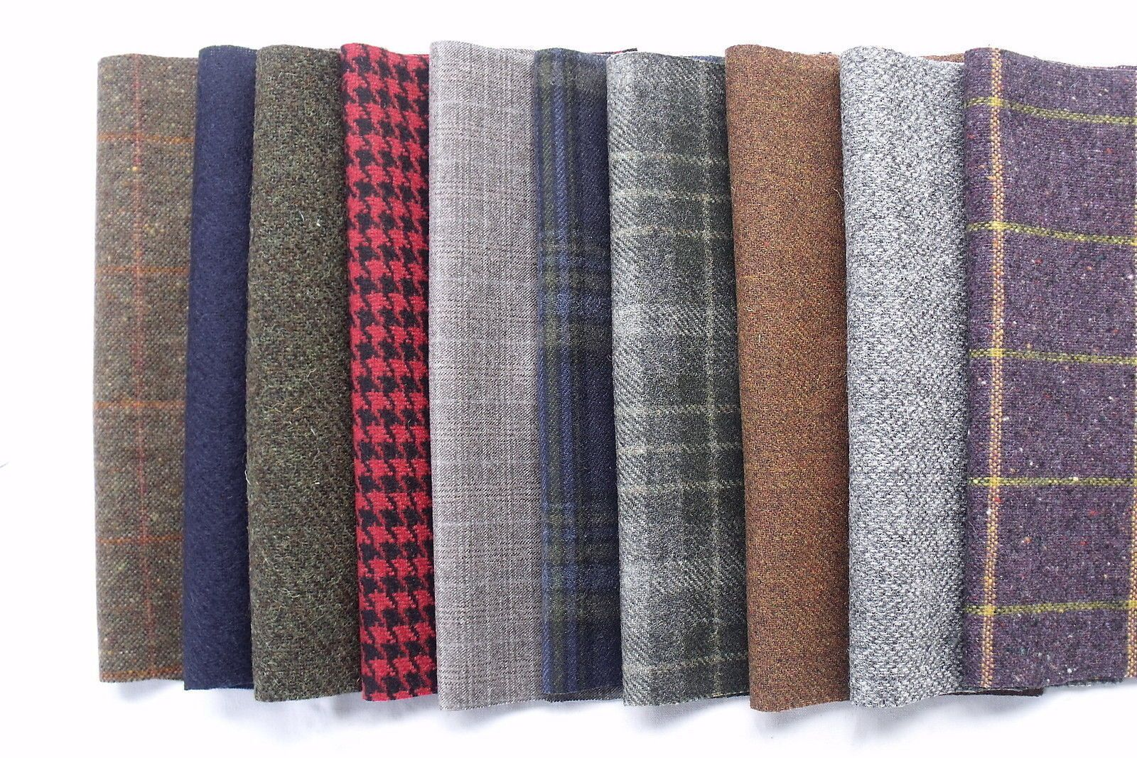 100 Pure Wool Tweed Remnants Offcuts Patchwork Rag Rug Crafts 10 Large Pieces
